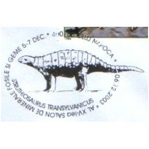 Struthiosaurus transylvanicus dinosaur on commemorative postmarks of Romania 2003