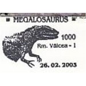 Megalosaurus on commemorative postmarks of Romania 2003