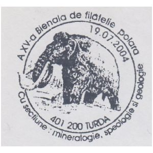 Mammoth on commemorative postmarks of Romania 2004