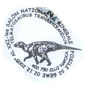 Telmatosaurus transsylvanicus dinosaur on commemorative postmarks of Romania 2005