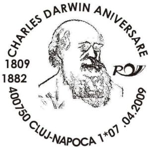 Charles Darwin on commemorative postmarks of Romania 2009