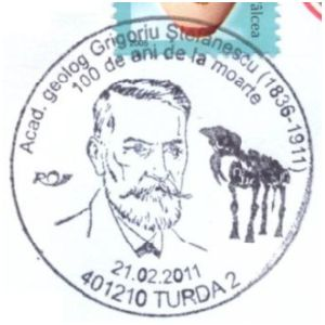 Romanian paleontologist Grigoriu Stefanescu on commemorative postmarks of Romania 2011
