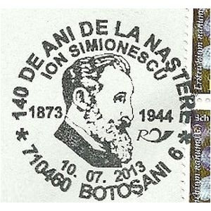 Romanian paleontologist Ion Simionescu on commemorative postmarks of Romania 2013