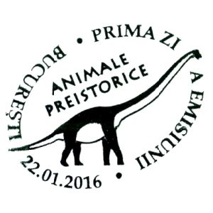Magyarosaurus dacus dinosaur on commemorative postmarks of Romania 2016