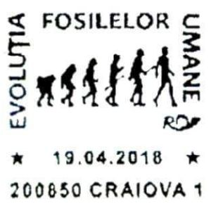Human evolution sequence on commemorative postmarks of Romania 2018