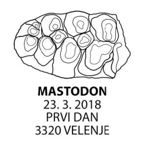 Tooth of Mastodon on commemorative postmark of Slovenia 2018