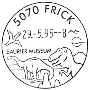 Dinosaurs and Pterosaur on commemorative postmark of Switzerland 1995