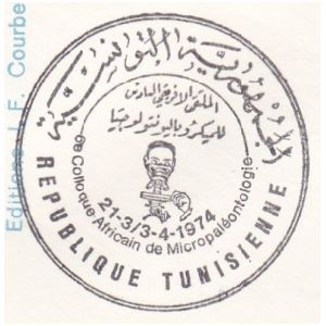 Micropaleontologist at work on postmark of Tunisia 1974