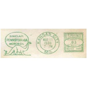 Brontosaurus on meter franking of Sinclair company of USA 1935