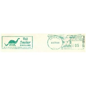 Brontosaurus on meter franking of Sinclair company of USA 1964