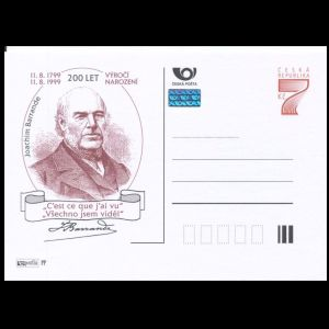 Paleontologist Joachim Barrande on personalized postal stationery of Czech Republic 1999