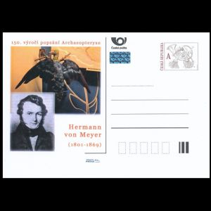 Paleontologist Hermann von Meyer and Archaeopteryx on personalized postal stationery of Czech Republic 2011
