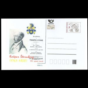 Paleontologist Kaspar Maria von Sternberg on personalized postal stationery of Czech Republic 2013