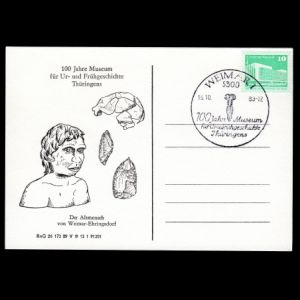 Neanderthal and flint tools on postal stationery of Germany GDR, 1983