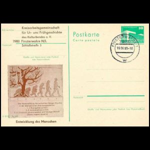 Human Evolution sequence on postal stationery of Germany GDR, 1990
