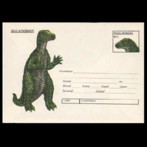 Iguanodon on postal stationery of Romania 1994