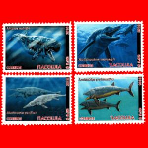 Prehistoric marine animals on fake stamps of Mexico