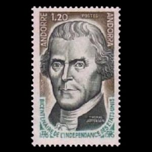 Father of American Paleontology, Thomas Jefferson on stamp of Andorra 1976