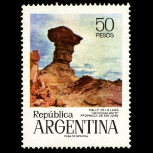 Moon valley on stamp of Argentina 1976