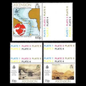 Continental drift on stamp of Ascension islands 1980