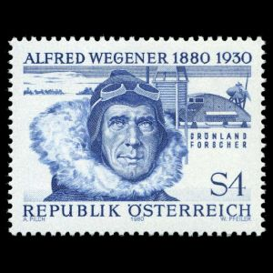 Alfred Wegener on stamp of Austria 1980