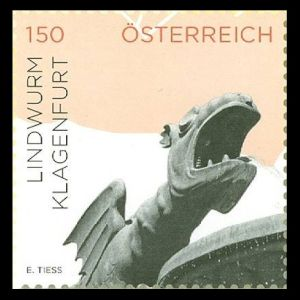 the dragon of Klagenfurt on stamp of Austria 2015