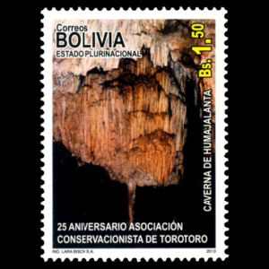 fossil-found place Torotoro on stamp of Bolivia 2013