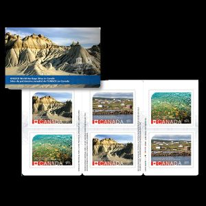 Fossil found places: Joggins Fossil Cliffs and Miguasha National Park on stamps of Canada 2014