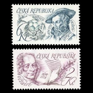 Georgius Agricola and Voltaire on stamps of Czech Republic 1994