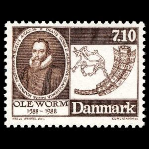 Ole Worm on stamp of Denmark 1988