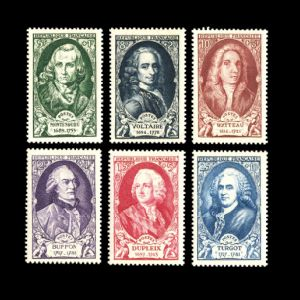 French naturalist and evolutionist George de Buffon as well as other famous persons on stamps of France 1949
