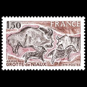 Prehistoric paintings of Bison priscus on stamp of France 1979