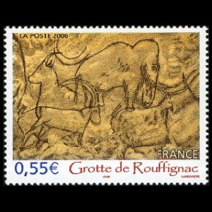 Cave painting of prehistoric animals on stamp of France 1968
