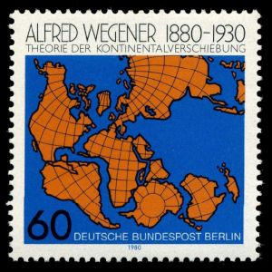 Alfred Wegener and continents drift on stamp of Germany 1980