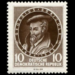 Georgius Agricola on stamp of Germany DDR 1955