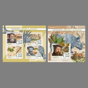 Conrad Gessner on stamps of Guinea 2016