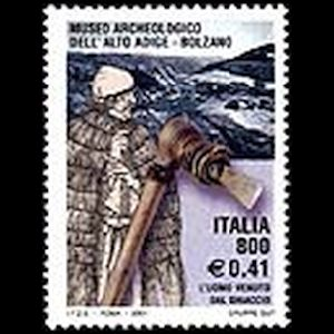 prehistoric man Oetzi on stamp of Italy 2001