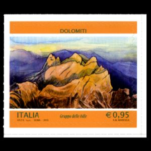 Dolimiti mountaints, fossil found places on stamps of Italy 2015