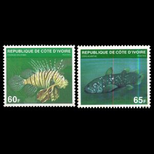 Coelacanth fish on stamps of Ivory coast 1979