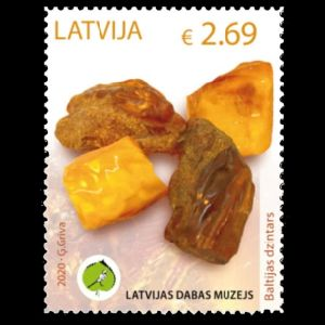Amber on post stamps of Latvia 2020