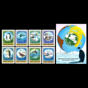 Continental drift on Antarctic explorarition stamps of Mongolia 1999
