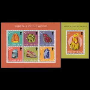 Amber and minerals stamps of Montserrat 2013