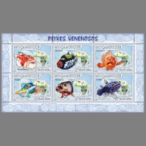 Coelacanth,  Latimeria chalumnae on fish stamp of Mozambique 2007, Click to enlarge