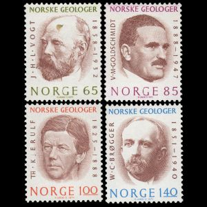 Waldemar Christofer Brøgger among other Geologists on stamps of Norway 1974