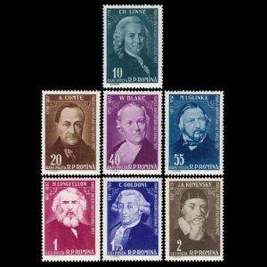Carl Linnei among other famous persons on stamps of Romania 1958