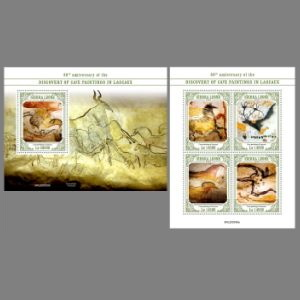 Prehistoric animals on paintig of Lascaux cave on post stamps of Sierra Leone 2020