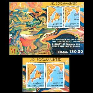 dinosaurs and continents drift on stamps of Somalia 1987