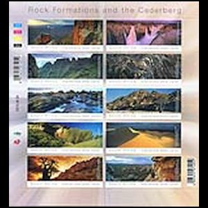 Fossil found place on landscape stamps of South Africa 2014