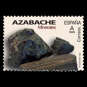 Jet mineral on post stamps of Spain 2020