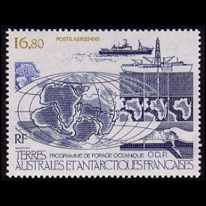 Continent Drift on Ocean drilling stamps of TAAF 1987